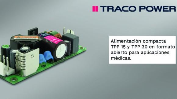 Fuentes de alimentación compactas de 15 y 30W en formato abierto para aplicaciones médicas de TRACO POWER