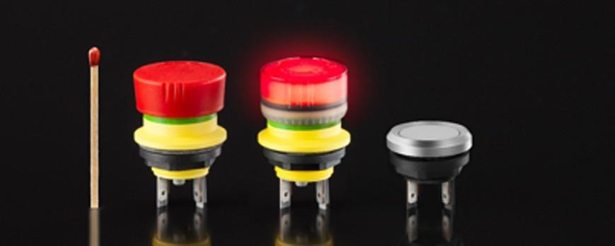 KOLBI Electrónica amplía la serie mYnitron de Schlegel, pulsadores con diseño compacto extraplano.