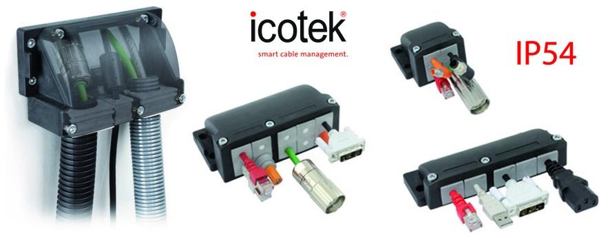 Pasamuros para cables acodados con un ángulo de 90º, IP54, alta estanqueidad y resistencia anti-tracción.