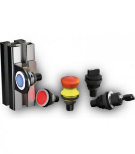 Pulsadores industriales para taladro. Familia completa SHORTRON CONNECT, taladro de 22mm con conector M12 integrado, IP65/IP67 S