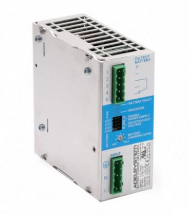 Cargador de baterías carril DIN 120W, Uin Vac monofásica, Uout 12,24Vdc, 5A, ADEL SYSTEMS