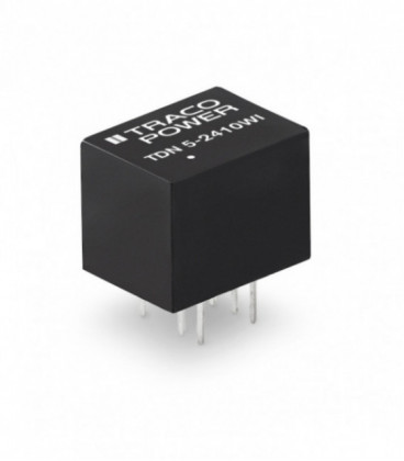 Convertidor DC DC para PCB 5W, Uin 4,5-75Vdc, Uout 3.3, 5, 12, 15,24, ±5, ±12, ±15Vdc, TRACO POWER