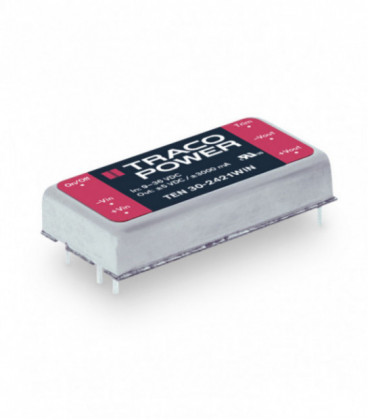 Convertidor DC DC para PCB, 30W, Uin 9-75Vdc, Uout 1.5, 2.5, 3.3, 5, 12, 15, ±5, ±12, ±15Vdc, TRACO POWER