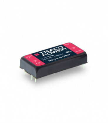 Convertidor DC DC para PCB 60W, Uin 9-75Vdc, Uout 5, 12, 15,24, ±12, ±15Vdc, TRACO POWER