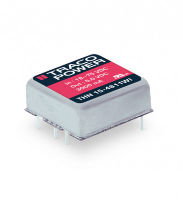 Convertidor DC DC para PCB 15W, Uin 9-75Vdc, Uout 3.3, 5, 12, 15, ±5, ±12, ±15Vdc, TRACO POWER