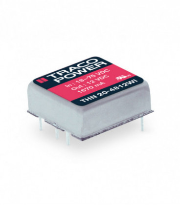 Convertidor DC DC para PCB 20W, Uin 9-75Vdc, Uout 3.3, 5, 12, 15, ±5, ±12, ±15Vdc, TRACO POWER