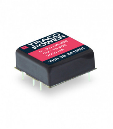 Convertidor DC DC para PCB 30W, Uin 9-75Vdc, Uout 3.3, 5, 12, 15,24, ±12, ±15Vdc, TRACO POWER