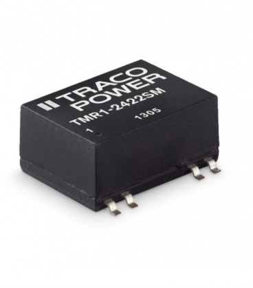 Convertidor DC DC para PCB 1W, Uin 4,5-75Vdc, Uout 3.3, 5, 12, 15, ±5, ±12, ±15Vdc, TRACO POWER
