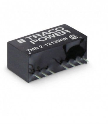 Convertidor DC DC para PCB 2W, Uin 4,5-75Vdc, Uout 3.3, 5, 12, 15, ±5, ±12, ±15Vdc, TRACO POWER