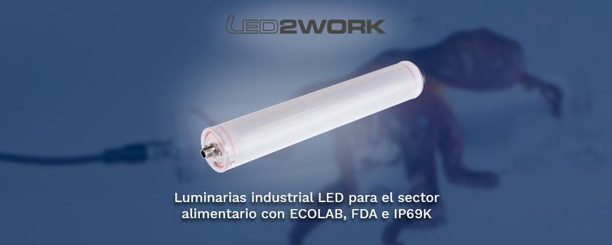 Luminaria industrial led para el sector alimentario con ECOLAB, FDA y IP69K