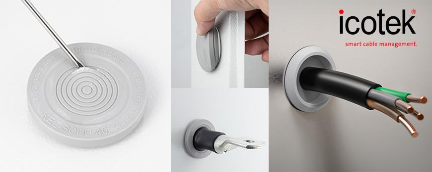 Membrana pasacables individual con anillos de sellado pretroquelados. Conducción de cables individuales rápida y fácil